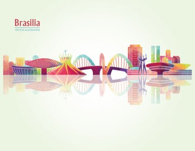 Plakát Brasilia detailní panoramata. vektorové ilustrace