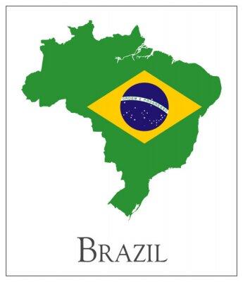 Plakát Brazil flag mapa