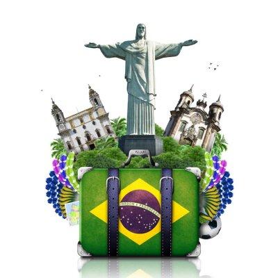 Plakát Brazílie, Brazílie památek, cestování a retro kufr