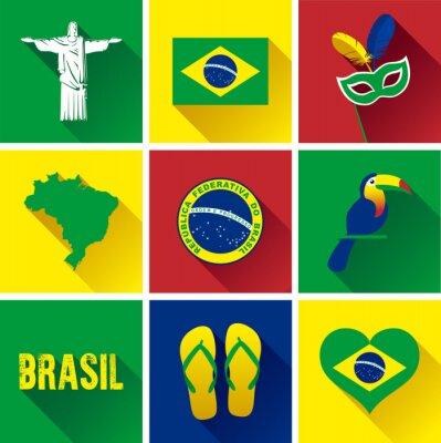 Plakát Brazílie Flat sady ikon. Sada vektorových grafických plochých ikon, které představují značky a symboly Brazílii.