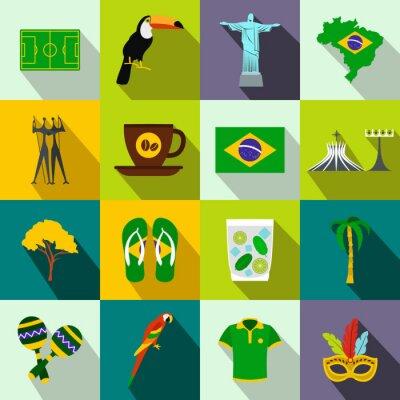 Plakát Brazílie ikony ploché