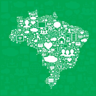 Plakát Brazílie mapa s ikonami.