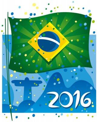 Plakát Brazílie vlajka slaví Nový rok v nádherné město