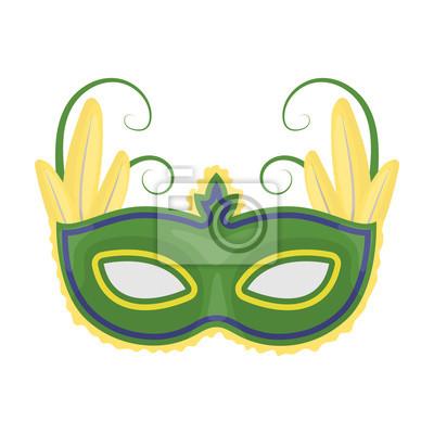 45959c697 Plakát Brazilský ikona karnevalové masky v kreslený styl na bílém pozadí.  Brazílie země symbol stock