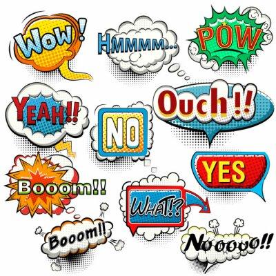 Plakát Bright komické bubliny křik, fráze, zvuky vektor