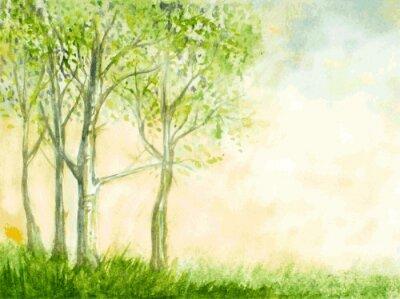 Plakát břízy akvarel vektorové ilustrace. abstraktní příroda zpět