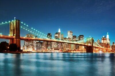 Plakát Brooklyn bridge v noci