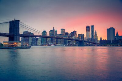 Plakát Brooklyn most a Manhattan za soumraku