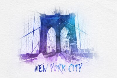 Plakát Brooklyn most s New York City textu