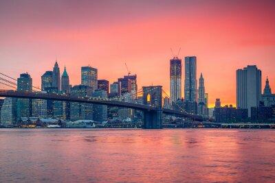 Plakát Brooklynský most a Manhattan za soumraku