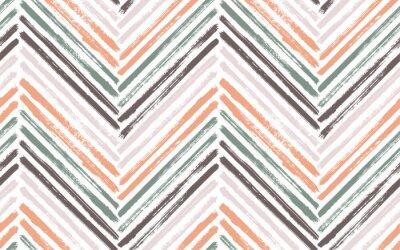 Plakát Brush stroke chevron zig zag seamless pattern.