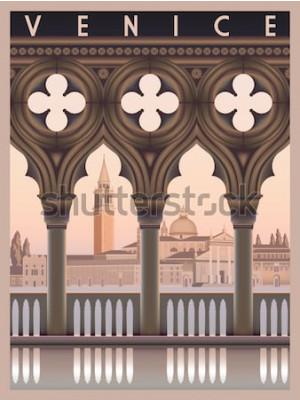 Plakát Brzy ráno v Benátkách. Cestování nebo pohlednice šablony. Všechny budovy jsou různé objekty. Ručně kreslenou vektorové ilustrace. Prastarý styl.