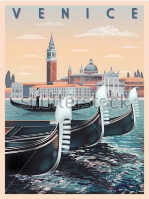 Plakát Brzy ráno v Benátkách v Itálii. Cestovní šablony nebo šablony pošty. Všechny budovy jsou různé objekty. Ruční kreslení vektorové ilustrace. Prastarý styl.