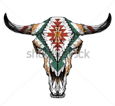 Plakát Bull / auroch lebka rohy na bílém pozadí. s tradičním ornamentem na hlavě