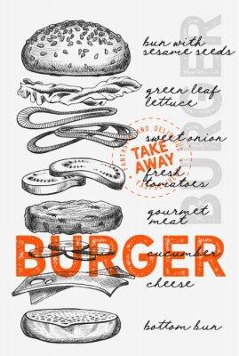 Plakát Burger illustration for food restaurant and truck on vintage background.