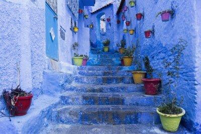 Plakát Calles de la ciudad hermosa Azul de Chefchaouen, Marruecos