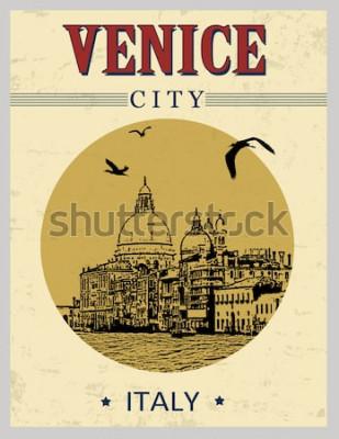 Plakát Canal Grande a bazilika Santa Maria della Salute, Benátky, Itálie v plakátu vintage stylu, vektorové ilustrace
