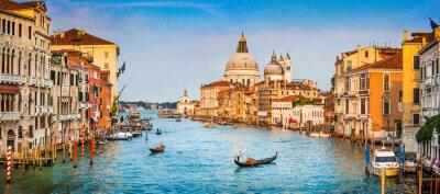 Plakát Canal Grande panorama při západu slunce, Benátky, Itálie