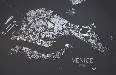 Plakát Cartina di Venezia, Italia, průhled Satelitní, 3D Mappa