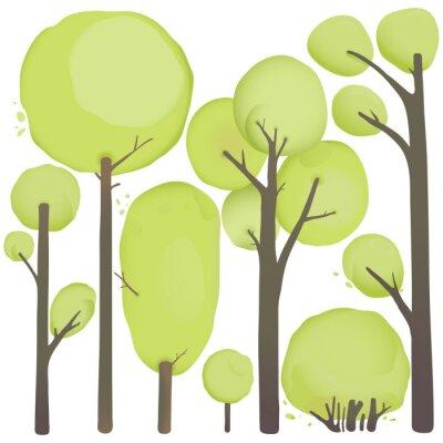 Plakát Cartoon Akvarel Stromy Set