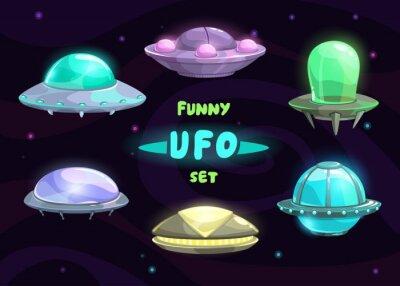 Plakát Cartoon fantastický ufo set