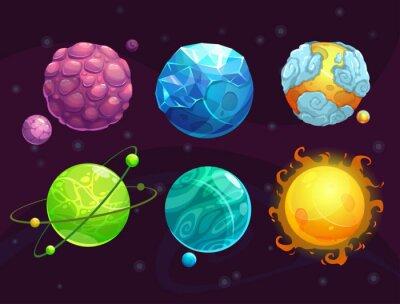 Plakát Cartoon fantasy cizích planet set