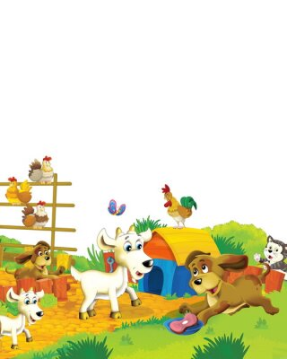 Plakát Cartoon farm scene with animal goat having fun on white background - illustration for children