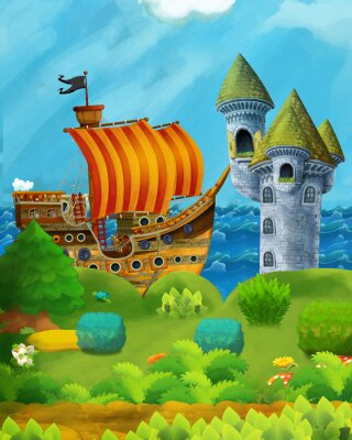 Plakát cartoon forest scene with prince and princess standing on path near the forest and sea shore and pirate ship is docked hidden and castle tower - illustration for children
