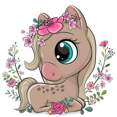 Plakát Cartoon Horse with flowers on a white background