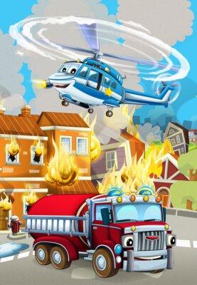 Plakát cartoon scene with fireman car vehicle near burning building - illustration for children