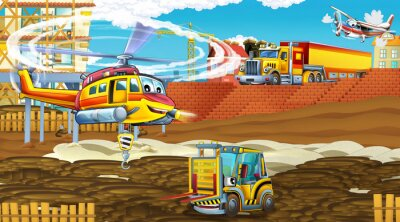 Plakát cartoon scene with industry cars on construction site and flying helicopter - illustration for children