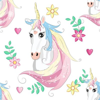 Plakát Cartoon seamless pattern. Unicorn with rainbow and clouds. For designed print.