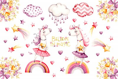 Plakát Cartoon unicorn set. watercolor for decoration design. Funny pink animal princess collection. Princess rainbow poster. Nursery cute print. Decoration element. Magic fantasy design.
