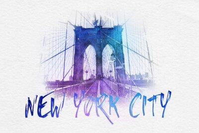 Plakát Čelní pohled na Brooklyn Bridge s textem NYC