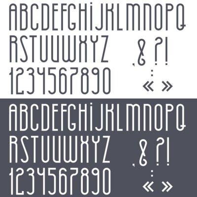 Plakát Černá a bílá abecedy, číslice a interpunkční znaménka