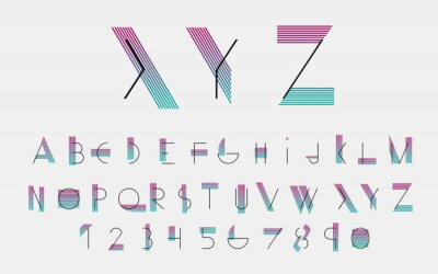 Plakát Černé abecední písma a čísla s barevnými linkami. Vektorové ilustrace.