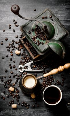 Plakát Čerstvá uvařená káva hrnec