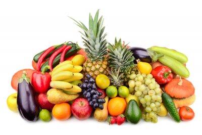 Plakát čerstvé ovoce a zelenina izolovaných na bílém