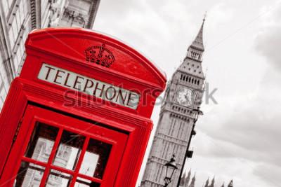 Plakát Červená telefonní schránka a Big Ben. Londýn, Anglie