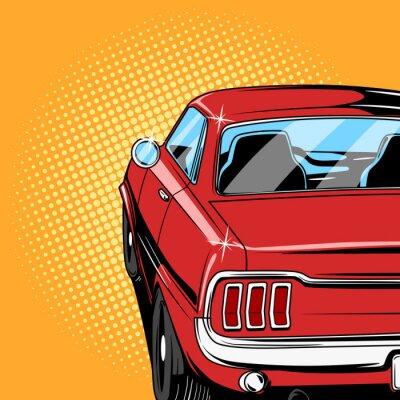 Plakát Červené auto komiksový styl vektorové