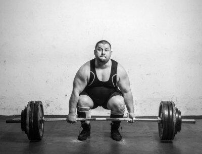 Plakát Champion powerlifter silné paže zvedal činky