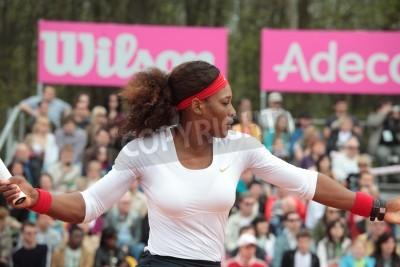 Plakát Charkov, Ukrajina - 21.dubna 2012 zápas mezi Serena Williams a Elina Svitolina během Fed Cup kravatu mezi USA a Ukrajinou v Superior Golf Spa Resort, Charkov, Ukrajina na 21.dubna 2012