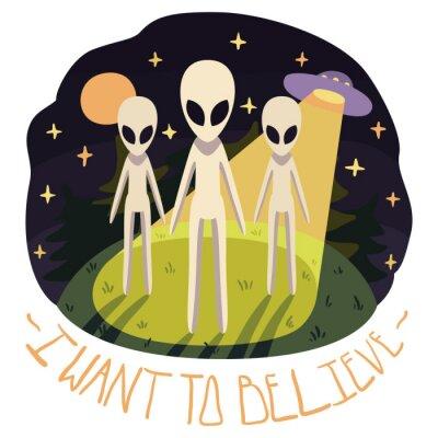 Plakát Chci věřit vektor plakát (background) s mimozemšťany na kopci a UFO v noci s úplňku a hvězdy (kreslený styl)
