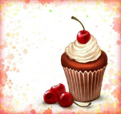 Plakát Cherry čokoláda košíček na akvarel pozadí