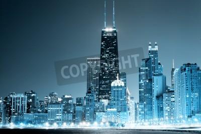 Plakát Chicago Downtown v noci