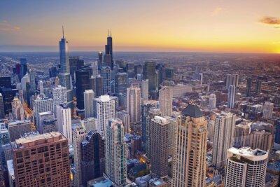 Plakát Chicago. Letecký pohled na centru Chicaga za soumraku od vysoko nad.