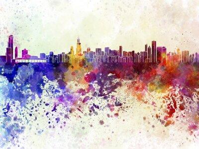 Plakát Chicago skyline v akvarelu pozadí
