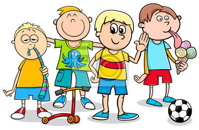 Chlapecke Deti S Hrackami Kreslene Ilustrace Plakaty Na Zed