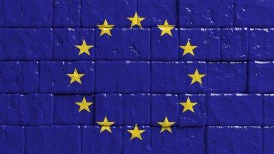 Plakát Cihlová zeď s malovaným vlajkou Evropské unie