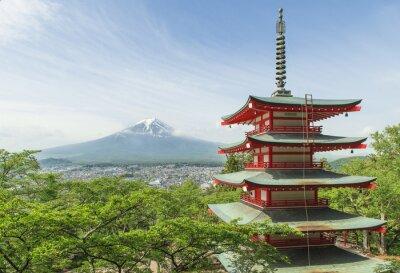 Plakát Cílové místo cesty - Mt. Fuji s červeným pagoda na jaře, Fujiyos